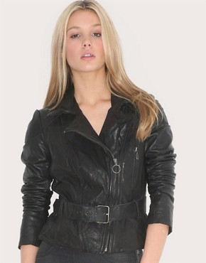 Image 1 of muubaa Belted Biker Leather Jacket