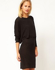 White Tent Layered Dress In Wool Mix Jersey