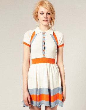 Image 1 of ASOS Colour Block Knitted Dress