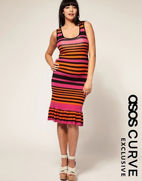 Image 1 of ASOS CURVE Exclusive Stripe Fishtail Dress