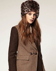 ASOS Leopard Faux Fur Cossack Hat