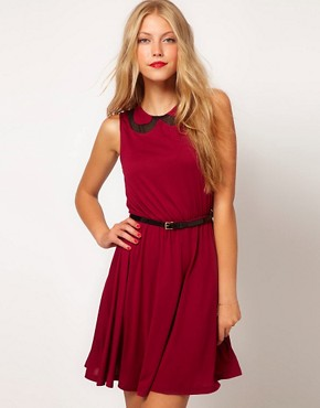 Image 1 of ASOS Skater Dress With Chiffon Collar And Belt