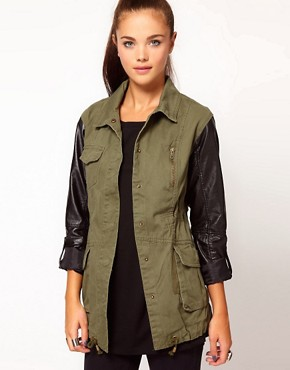 Image 1 of River Island Leather Look Sleeve Army Jacket