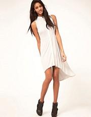 ASOS Shirt Dress With Dipped Hem In Crepe
