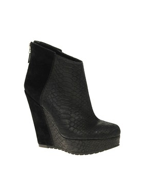 Image 1 of River Island Viper Snake Suede Wedge ankle boot