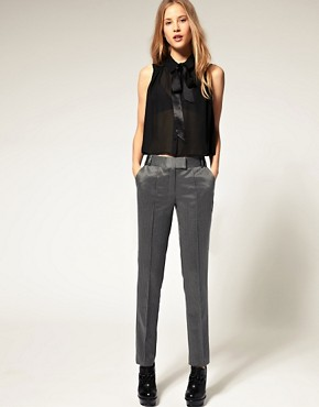 Image 1 of ASOS Herringbone  Metallic Trousers