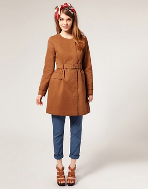 Image 4 of ASOS Collarless Belted Trench