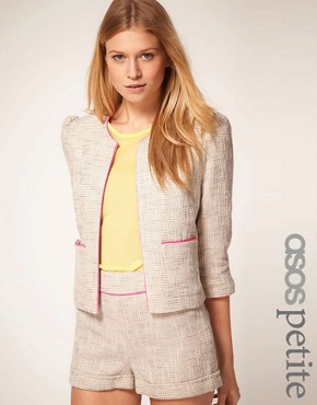 ASOS PETIITE Exclusive Premium Suit Jacket With Neon Detail