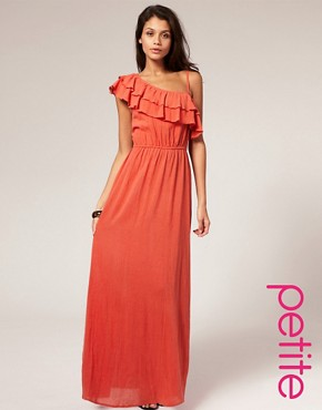 Image 1 of ASOS PETITE Asymmetric Frill Cheesecloth Maxi