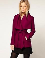 Ted Baker Wrap Collar Detail Short Wool Belted Coat