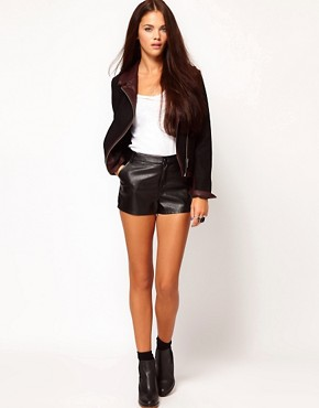 Image 1 of River Island Leather Look Shorts