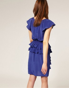 Image 2 of Warehouse Silk Ruffle Peplum Dress