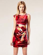Karen Millen Mini Dress with Distorted Neon Texture Print