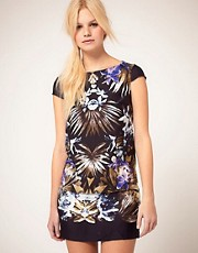 Mango Tropical Print Shift Dress