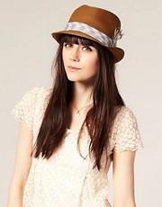 Juicy Couture Straw Trilby Gingham Band Detail Hat