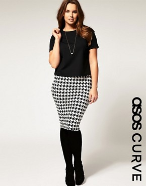 Image 1 of ASOS CURVE Jersey Pencil Skirt in Dog Tooth