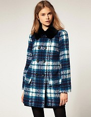 ASOS Tartan Pea Coat With Faux Fur Collar