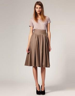 Image 1 ofASOS WHITE Wool Mix Mid Calf Full Skirt