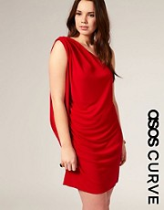 ASOS CURVE One Shoulder Jersey Drape Dress