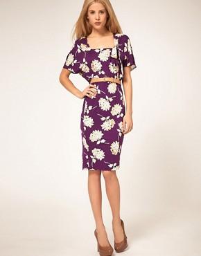 Image 1 ofASOS Tea Dress in 40s Floral Print