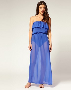 Image 1 ofASOS Chiffon Frill Maxi Beach Dress