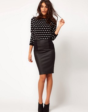 Image 1 of ASOS Pencil Skirt in Leather Look