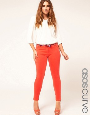 Image 1 of ASOS CURVE Colored Jersey Skinny Pants #4