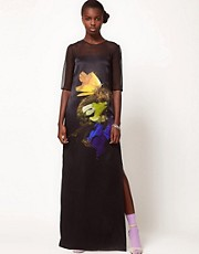 Lulu and Co Mat Collishaw Satin Maxi Dress with Butterfly Photographic Print