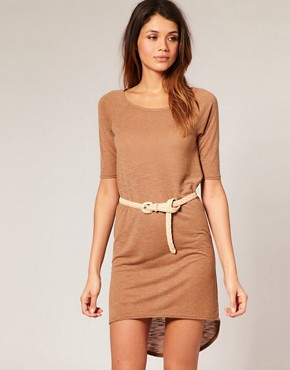 Image 1 of ASOS Dipped Hem T-Shirt Dress