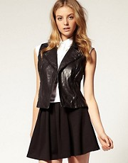 ASOS Sleeveless Leather Biker Jacket
