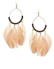 ASOS Nude Hanging Feathers and Beads Hoop Earrings (+)