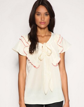 Image 1 of ASOS Contrast Piped Ruffle Pussybow Blouse