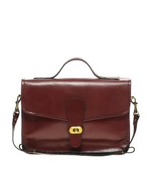 Image 1 ofASOS Leather Vintage Style Satchel