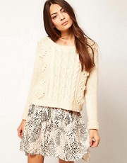 Ganni Cable Knit Jumper with Pompom Detail