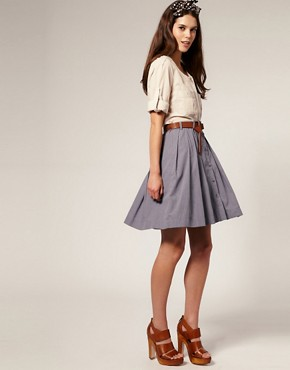 Image 1 of Vero Moda Button Through Full Chambray Skirt With Belt