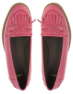 Image 3 of ASOS MINDY Leather Loafer Shoes with Contrast Sole