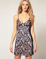 Calvin Klein Forget Me Not Print Chemise With Lace Panel