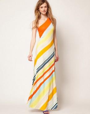 Image 1 of Ted Baker One Shoulder Maxi Dress In Stripe Print