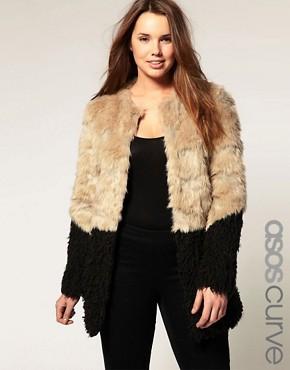 Image 1 ofASOS CURVE Faux Fur Coat with Contrast Hem