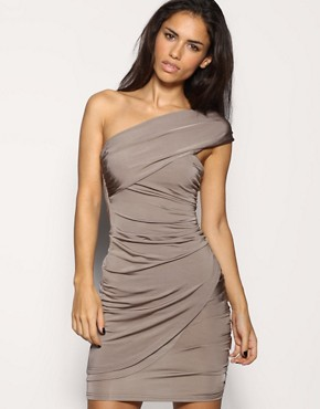 Image 1 of ASOS Twisted Slinky One Shoulder Dress