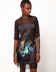 Lulu and Co Mat Collishaw Satin Shift Dress with Butterfly Photographic Print