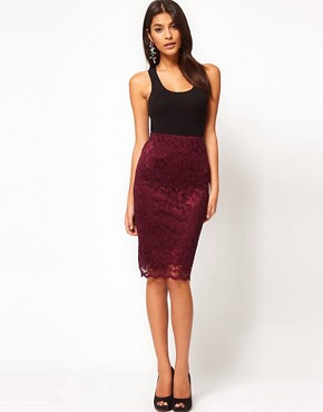 Image 1 of ASOS Pencil Skirt in Lace with Scallop Hem