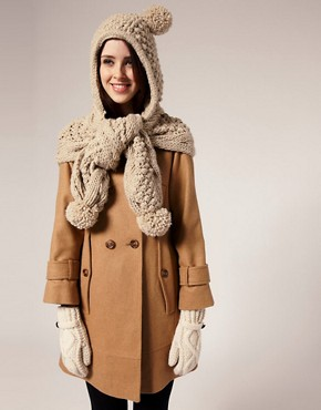 Image 1 of Warehouse Chunky Knit Hooded Scarf