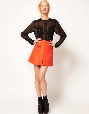 Image 1 of ASOS Military Mini Skirt With Gold Buttons