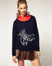 House of Holland Merino Sweater with Pearl Applique