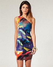 ASOS One Shoulder Dress with Digital Rainbow Print