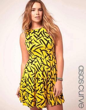 Image 1 ofASOS CURVE Exclusive Skater Dress In Brush Stroke Print