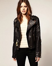 Urban Code Badge Leather Biker Jacket