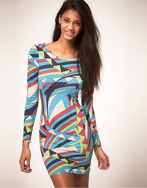 Lipsy Bodycon Dress In Geo Print