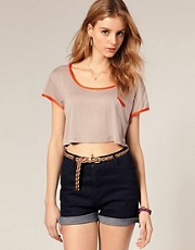 ASOS Contrast Binding Crop Top
